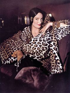 Wenda Parkinson, American Vogue, 1949  animal print leopard print cheetah print  coat