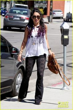 Vanessa Hudgens and With Hearts in My Eyes Black Lace Flare Pants ...