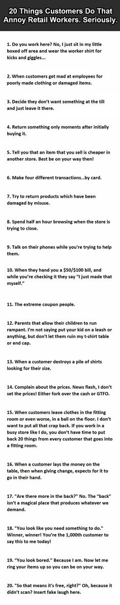 ...20 Things customers do that annoy retail workers