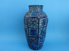 Large Vase Bay / Bodo Mans / 60 30 / West German Pottery / Bitossi style / blue von ShabbRockRepublic auf Etsy