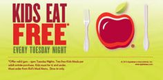 Applebee's has just announced a new promotion where kids eat free every Tuesday night! This new promotion makes it that much easier for families to spend some quality time together during the week. We all understand how hectic life can be at times and not having to prepare a meal at home can be a welcome break in your routine. Then throw in the fact that you won't have to pay for the meals that your kids eat and this offer becomes one that is hard to pass up!