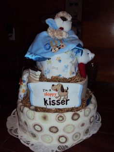 Check out this item in my Etsy shop https://www.etsy.com/listing/108735479/sloppy-kisser-diaper-cake-for-the-dog