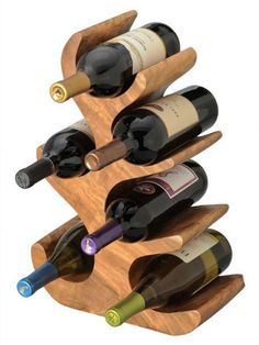 Eclectic Wine Rack for Contemporary House : Extraordinary Wine Rack Design Wood Made Six Bottles Of Wine Wood Wine Bottle Holder, Wine Glass Rack, Bottle Rack, Wooden Rack, Wood Wine Racks, Wine Shelves, Wine Storage, Bar Pallet, Wine Rack Design