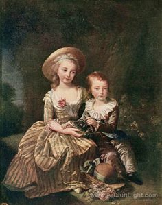 Princess Marie Therese Charlotte of France, Madame Royale, and her younger brother Louis Joseph Xavier of France, Dauphin of France 1784  By Louise Elisabeth Vigée-Lebrun