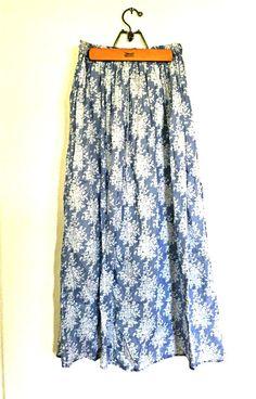 bc7690f61 Baby Blue Floor Length Printed Skirt Maxi Skirt Boho, Blue Floor, Fall  Skirts,