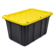 GSC Technologies Plastic Storage Tote Black Tote with Standard Snap Yellow Lid Plastic Storage Totes, Tote Storage, Tool Organization, Black Tote, Tool Box, Technology, Yellow, Boxes, Tecnologia