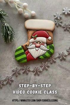 Christmas Sugar Cookies, Christmas Sweets, Christmas Gingerbread, Holiday Cookies, Christmas Baking, Christmas Sock, Royal Icing Cookies, Fancy Cookies, Iced Cookies
