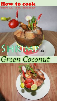 World's first ever video recipe - Shrimp cooked in Green Coconut!