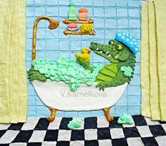 Просмотреть иллюстрацию Крокодил в ванной из сообщества русскоязычных художников автора Валерия Камелькова в стилях: Другое, нарисованная техниками: Пластилин.