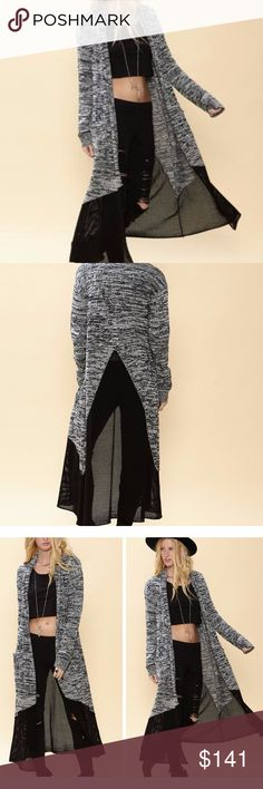 DEJA CARDIGAN new!  This mesh mix two-toned duster cardigan is as sporty as it is swanky. Made from cotton, viscose, and nylon, with mesh detailing down the back and a marled knit pattern, it's the perfect way to amp up an outfit. SLOANE ROUGE Sweaters Cardigans