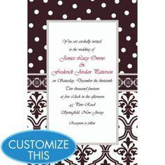 Damask & Polka Dot Custom Invitation
