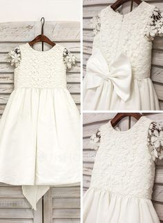 Princess Knee-length Flower Girl Dress - Cotton Short Sleeves Scoop Neck With Lace/Bow(s) (010091209)