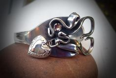 Heart shape bracelet made from a fork by SuzoosPlace on Etsy