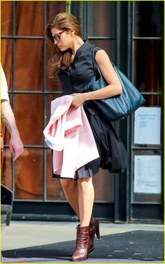 Eva Mendes steps out in NYC with her navy leather Matryoshka bag. How CHIC!