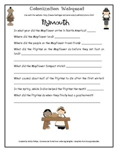 This is a Colonial Times webquest that has a section on Plymouth and the Pilgrims, as well as the 13 colonies: New England Colonies, Middle Colonie...