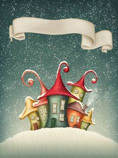 Fantasy colorful houses in winter and banner- Fantasy Colorful Houses In Winter And Banner Stock Photo, Picture And Royalty Free Image. Christmas Applique, Christmas Gnome, Christmas Wood, Christmas Crafts, Christmas Decorations, Christmas Ornaments, Country Paintings, Happy Paintings, Christmas Drawing
