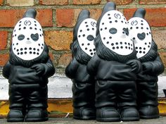 Slasher gnomes.(but I wanna paint sugar skull faces on them for outside or in window seal) love this idea for Day of the dead..