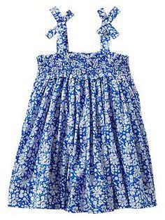 Smocked bow dress Baby Gap