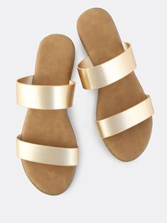Shop Metallic Duo Band Slip On Sndals GOLD online. SheIn offers Metallic Duo Band Slip On Sndals GOLD & more to fit your fashionable needs.