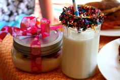 Chocolate dipped  milk glasses with sprinkles ~ So cute!