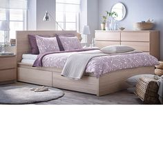 IKEA MALM bed frame, high, w 2 storage boxes Real wood veneer will make this bed age gracefully. Ikea Small Bedroom, Ikea Bedroom Furniture, Oak Bedroom, Trendy Bedroom, White Bedroom, Bedroom Ideas, Bedroom Designs, Bedroom Inspiration, High Bed Frame