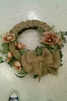 Contemporary burlap braid wreath inspired by Julia Nutu made by Christina Pavlick store #7721