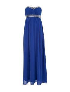 New Look size 6 & some embellished cork wedges to match!!!!!!!!!!!!Blue Embellished Bandeau Maxi Prom Dress