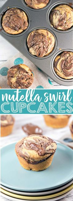 Nutella Swirl Cupcakes: rich, buttery cupcakes with decadent swirls of nutella baked right on top. These self-frosting cupcakes are ideal for travel: just toss in a bag and go! {Bunsen Burner Bakery} via Nutella Cupcakes, Fondant Cupcakes, Swirl Cupcakes, Cupcake Cakes, Cupcake Toppers, Köstliche Desserts, Best Dessert Recipes, Cupcake Recipes, Baking Recipes