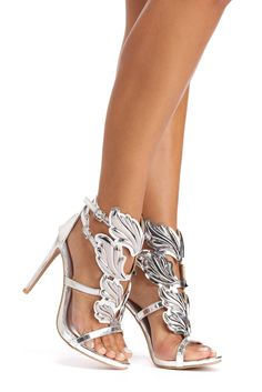 Silver Winged Goddess Heels