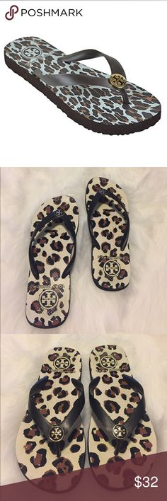 Tory Burch Classic Logo Flip Flop Leopard Print Adorable Tory Burch Classic Flip Flop in a great neutral leopard with gold logo! A must have for summer! Love this Animal Print it's a perfect neutral with black bottom & straps & brown, black & white print. Size 9. No box. Previously loved. Some discolorations on the Print & bottom & sides have wear. Please see all photos. So much love left in these!!! Tory Burch Shoes Sandals