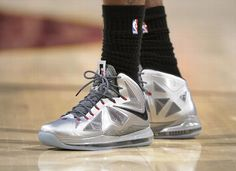LeBron James   Nike LeBron X Silver PE + Nike LeBron VI Fairfax