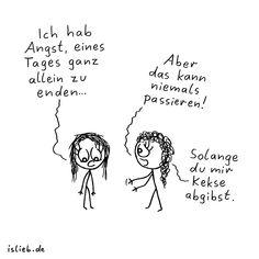 Nie allein. Is lieb? | #angst #einsam #freunde #freundschaft #kekse #islieb Take A Smile, Typography Quotes, Just Love, Geek Stuff, Lol, Memories, Comics, Words, Angst