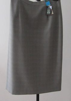 Vintage Women's Clothes. Grey and Black Check Pencil Skirt