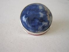 Sterling Silver Ring Big Round Sodalite by PaolaNaviaJewelry, $120.00