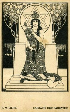 Ephraim Moses Lilien (1874-1925) is known as the father of Zionist iconography. Although he was raised Orthodox in Galicia, he sought a secular education and settled in Germany in 1899 were he became involved in the movement to restore Jewish statehood. He was the master of the Jewish motif and fashioned a national Jewish art by blending traditional Jewish symbols within contemporary styles, such as theJugendstil (German Art Nouveau)**