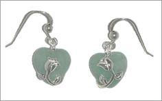 Green Jade and silver rose heart drop earrings Bangle Bracelets, Bangles, Jade Pendant, Dragon Art, Lucky Charm, Jade Green, Silver Roses, Silver Necklaces, Christmas Gifts