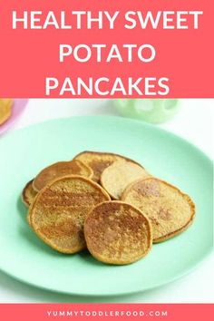 These healthy Sweet Potato Pancakes are made with whole grains, taste naturally sweet, and are a yummy way to pack some veggies into breakfast. Plus: The leftovers warm up so nicely, you can make them on a weekend and serve the extras on busy weekdays! #Breakfast #SweetPotato #Pancakes #Weekdays