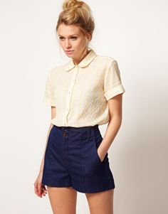 short sleeve shirt with contract embroidery ++ asos
