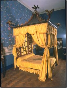 Chinoiserie - One of the more famous examples of a Chinoiserie interior is the Chinese Bedroom at Badminton House...This bed slays me!
