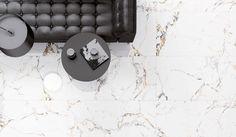 Каррарский мрамор — источник вдохновения для дизайнеров фабрики Peronda. Пластины камня, которые воспроизводит коллекция TUCCI, привлекают внимание своим сияющим белым фоном, на котором перекрещиваются хорошо видимые прожилки в черных и золотых тонах.