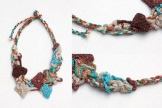 Statement necklace knitted necklace fiber art by rRradionica
