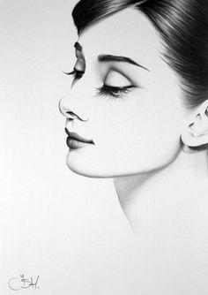 Dessin : Portrait d'une femme de profile
