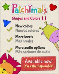 Patchimals - Shapes and colors, update: More levels, new colors and more audio options. #kidsapps #babyapps   #shapes #colors #appsforkids   ------------- o ------------- Patchimals - Formas y colores, novedades: Más niveles, nuevos colores y más opciones de audio.  #appsparabebes #appsparaniños #formas #colores