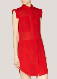 T by Alexander Wang - Panelled shirt dress   Red Casual Dresses   Womenswear   Lane Crawford - Shop Designer Brands Online