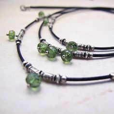 Three Tier Leather and Silver Necklace with Green by BohBiJewelry, $116.00