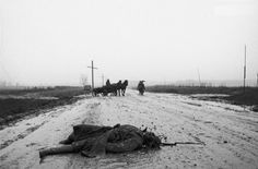 Red Army soldier killed. Eastern Front. The photograph is probably part of Dmitri Baltermants or Vladimir Lupejko, both Soviet photographers.