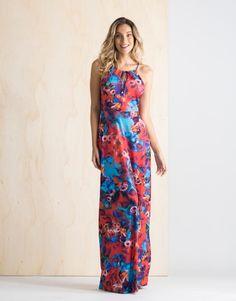 Vestido Longo Estampa Rosas Concept - zinzane