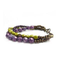 Colorful Boho Bracelet Purple Lime Green by RockStoneTreasures