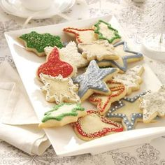 Vanilla-Butter Sugar Cookies Recipe -While I usually bake these cookies for Christmas, I'll also make them at Valentine's Day (in the shape of hearts, with messages written in frosting), at Thanksgiving (shaped like turkeys), at Halloween (pumpkins), etc. Children like to help out with the decorating. —Cynthia Ettel, Hutchinson, Minnesota