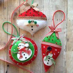 Christmas Ornaments Snowman felt ornaments by CraftsbyBeba